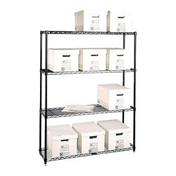 Metro Shelving - Office Storage Shelf with Four Wire Shelves - When you need heavy duty storage, this incredible office shelf is the way to go! Its contemporary wire shelving is easily adjustable to suit whatever you need to store, and sturdy enough to live up to its heavy duty composition that comes with a 20 year warranty.