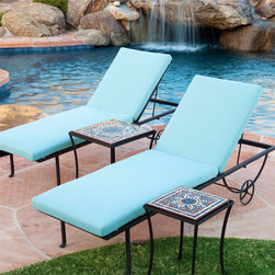 KNF Garden Designs - Iron Chaise Lounge - Add the ultimate in relaxation to any pool, garden or patio setting with our wrought iron chaise. The powder coated iron frame is forged and wrought by hand. This uniquely beautiful design will complement many styles.