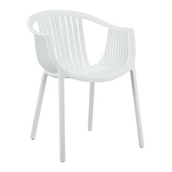 Hammock Dining Armchair - Retreat back to the outdoors with the splendid embrace of the Hammock chair. Made from durable molded plastic, Hammock is suitable for all weathers and conditions. Notable for its distinctive woven pattern and wide arching support, enjoy the festivities while snugly seated in this contemporary chair.