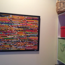 What to do with Old Pencils? - What to do with a bag full of old pencils at the end of the school year?  Create a home office bulletin board that works as a work of art!