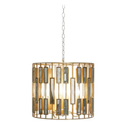 Worlds Away - Worlds Away - Chrialto Chandelier Pendant Medium In Gold - Chrialto 2 - Circling the medium Worlds Away ChRialto chandelier pendant, retro mirrored rectangles intersect straight lines to reflect geometric panache. The modern light fixture's gold finish illuminates dining rooms with glamorous style.
