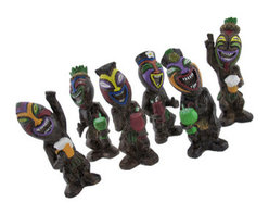 Set of 6 Friki Tikiettes Partying Tiki Statues - This set of 6 assorted tiki statues is an essential addition to any tiki bar or island themed reception or party! They are made of cold cast resin, and each measures approximately 7 1/2 inches tall. Each tikiette is hand painted with bold, cheerful colors, each have a different smiling face, and they are holding a variety of adult beverages. This group of fist pumping, peace sign waving, thumbs-up partiers is sure to liven up your party, porch, or patio, and is sure to start a conversation.