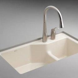 KOHLER - KOHLER K-6411-2-0 Indio Undercounter Double Offset Basin Kitchen Sink - KOHLER K-6411-2-0 Indio Undercounter Double Offset Basin Kitchen Sink with Two-Hole Faucet Drilling in White