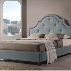 Baxton Studio - Baxton Studio Colchester Grey Linen Modern Platform Bed  King Size - Think how much you'll look forward to dreamtime with our full-size platform bed. Grey linen upholstery and a wooden frame with foam padding take care of the comfort angle while dark brown wood legs and scalloped headboard cover the style side of things.