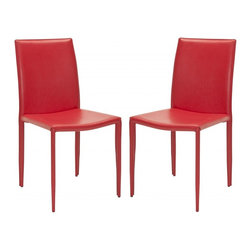 Safavieh - Karna Dining Chair  (Set Of 2) - The minimalist aesthetic of the Karna Dining Chair (sold in a set of two) suits decorating tastes both transitional and contemporary. Upholstered with easy-care red bonded leather, these chairs are made withstand wear and tear from demanding guests while exuding Euro-chic style.