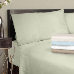"Grand Luxe - Grand Luxe Egyptian Cotton Sateen 300 Thread Count Solid Deep Pocket Sheet Set a - These ""Made in USA"" sheets are made with 100-percent Egyptian cotton sateen for a soft and smooth feel. The pillowcases can be purchased as pairs as an option."