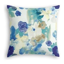Blue & Aqua Watercolor Floral Custom Euro Sham - The secret to those perfectly made beds you eye in magazines? Euro shams. Complete your bed set with a set of Simple Euro Shams for a look that's as stylish as it is snuggly.  We love it in this cobalt blue and aqua watercolor floral on white cotton. Instant modern art, no frame needed.