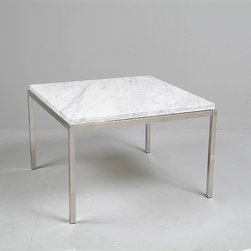 Modern Classics - Florence Knoll: Small Square End Table Reproduction - Features:Polished stainless steel baseChoice of half-inch tempered glass or white-gray veined marbleSpecifications:Overall Dimensions (in): 30w x 30d x 19hWeight: 55 pounds