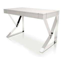 Modloft - Modloft | Houston Desk - Design by Modloft. The Houston Desk expresses a sharp edge on first glance, yet maintains an artistic presence throughout. Geometric steel chrome legs are shaped to form a stable, stylish base. Deep grooves line the Houston Desk's edging, concealing the two front panel drawers. Available in a variety of finishes.