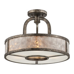 Quoizel - Quoizel Mottled Silver Semi-Flush Mts. - SKU: QF1398SMM - Quoizel fixtures come in a variety of styles, finishes and materials to suit any home decor. Choose from fabric, metal or even one of our Quoizel Naturals shades, with bamboo, onyx or agate stone, to name a few. Look to our fixtures to add the finishing touch to your home`s style.