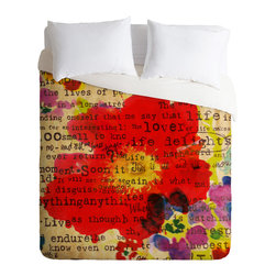 DENY Designs - Irena Orlov Poppy Poetry 2 Duvet Cover - Turn your basic, boring down comforter into the super stylish focal point of your bedroom. Our Luxe Duvet is made from a heavy-weight luxurious woven polyester with a 50% cotton/50% polyester cream bottom. It also includes a hidden zipper with interior corner ties to secure your comforter. it's comfy, fade-resistant, and custom printed for each and every customer.