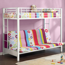 White Sunrise Twin-Futon Bunk Bed - Designed with safety in mind, this bunk bed includes full length guardrails and a sturdy integrated ladder. Constructed from amazingly tough steel, the frame will never give out, promising the safety of all who use it. This piece is finished with a white lead-free powder coat for a versatile look able to fit a number of color combinations. The bunk bed is 1 twin and 1 futon bed that meet all safety standards.