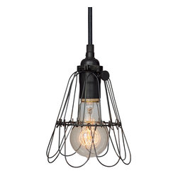 Hammers & Heels - Industrial Trouble Cage Pendant Light- Matte Black - WIRE CAGE PENDANT LIGHT