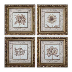 Uttermost - French Florals Framed Art Set of 4 - Let's face it, when it's in French, it's just better. Now they've taken flowers up a notch. The ornate, antique gold leaf finished frames have a bronze undertone that perfectly sets off the delicate renderings of flowers. They're framed under glass to avoid fading. Look closely and you may make out a few words here and there.