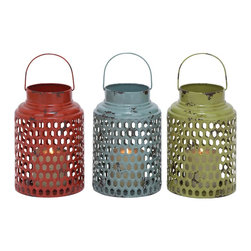 Metal Candle Holder 3 Assorted with Lantern Design - Now you can create a wonderful ambience for your interiors with this stylish candle holder with a classy, lantern styled design. This stylish holder is brilliantly designed from quality metal and has a splendid green, blue and red color combination which makes for a great set. This set consists of three holders that are shaped like the lantern. This cool and compact candle stand is a perfect match for your home. Besides, it can also be used as a gift item for anniversaries and token of love. Let your guests praise your choice for home decoration. Surely, it will light the dark corners of your home and turn into neighbor's envy. Shimmering colors and antique finish adorn these holders made of premium quality metal which renders it durability.. It comes with following dimensions