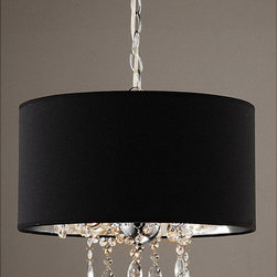None - Indoor 3-light Black/ Chrome Pendant Chandelier - Add some fashion and flair to your home with this elegant pendant chandelier. With its black and chrome shade surrounding three dangling crystal balls, this chic three light fixture will be a bright addition to any room in your house.