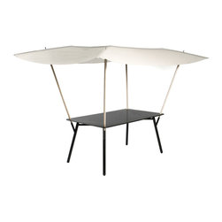 """Fermob - Tablabri Table w/ Canopy - 63"""" x 35"""" - An ingenious combination of a table and a fabric screen against the sun  or prying eyes  Tablabri is like a children's playhouse... but for grown-ups! Its originality is matched only by the cleverness of its design and its ease of use  in particular, the UV-resistant beige fabric screen can be simply removed and machine-washed when dirty. As for its four wooden poles, they slide discreetly under the tabletop in an integral storage space. All in all, it's table that will both surprise and amuse your guests!"""