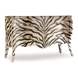 Hooker Furniture Co - Zora Bombe Chest - The Hooker Furniture Zora bombe chest is a stand-out in the fabulous Melange Collection.  Every piece in the collection a work of art, the Zora chest has a graceful, curvaceous zebra motif that is mirrored in the sinuous legs and shapely drawer pulls.  Were it not clearly made of hard wood, one might be tempted to stroke the lovely hide.  Two wide drawers provide a great deal of storage space.