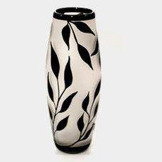 Modern Vases Black/White Willow Leaves Vase