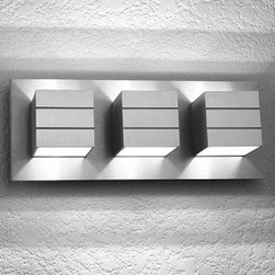 """LumenArt - AWL13.3 wall sconce - Product Details:   The AWL 13.3wallsconce from the Alume series has beendesigned and manufactured for LumenArt. Micro brushed with clear coat after fabrication before assembly. Made of machined aluminum with stainless steel fasteners.  Details:                                 Manufacturer:                             LumenArt                                                Designer:                            LumenArt                                                Made in:              USA                                   Dimensions:                             Height: 5.88"""" (15cm) X Width:15"""" (38cm) X Depth: 4"""" (10 cm)                                                Light Bulb:                            3X 40WG9Halogen                                                 Material:                             steel , aluminum"""