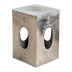 Square Rivet Stool - Mirror Nickel - Product Features: