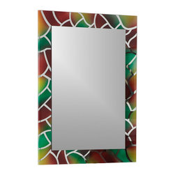 Decor Wonderland Mirrors - Decor Wonderland Mosaic Frameless Bathroom Mirror with Bevel Edge - Accentuate your bathroom with color and class with the Mosaic Frameless Bathroom Mirror with seamed edge. This rectangular wall mirror can be used in your hallway, living room or bedroom.
