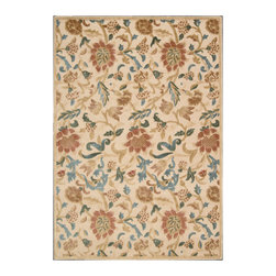 """Nourison - Nourison Graphic Illusions GIL06 7'9"""" x 10'10"""" Light Gold Area Rug 13281 - A meandering floral, leaf and vine design emanates a casual feel that is still somehow sophisticated. In luscious hues of green, beige, blue, rose, ivory and chocolate brown, this gorgeous area rug's meticulous hand carving and high-low loop pile construction puts the lap of luxury directly at your feet."""