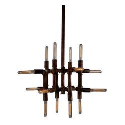 Sabriel- Chandelier - Sabriel Chandelier- Industrial Modern Light of Rust Finished Conduit.