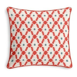 Red Diamond Dot Ikat Custom Throw Pillow - Black and white photos, Louis XIV chairs, crown molding: classic is always classy. So it is with this long-time decorator's favorite: the Corded Throw Pillow. We love it in this diamond trellis with a twist of contemporary ikat-like heathering. A modern accent in cherry red and aqua blue.