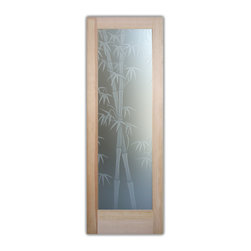 "Sans Soucie Art Glass (door frame material T.M. Cobb) - Interior Glass Door Sans Soucie Art Glass Bamboo Shoots 3D Private - Sans Soucie Art Glass Interior Door with Sandblast Etched Glass Design. GET THE PRIVACY YOU NEED WITHOUT BLOCKING LIGHT, thru beautiful works of etched glass art by Sans Soucie!  THIS GLASS PROVIDES 100% OBSCURITY.  (Photo is View from OUTside the room.)  Door material will be unfinished, ready for paint or stain.  Satin Nickel Hinges. Available in other wood species, hinge finishes and sizes!  As book door or prehung, or even glass only!  3/8"" thick Tempered Safety Glass.  Cleaning is the same as regular clear glass. Use glass cleaner and a soft cloth."