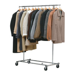 Richards Homewares - Garment Rack Chrome Kd Commercial, Easy Storage - Folds flat when not in use. Holds up to 150 Lbs. in clothing weight evenly distributed. Height adjusts from 57� to 67�. The hang bar can extend out 10� on each end for extra hanging storage.