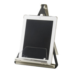Collapsible Book Sling - For an easy time in the kitchen or hands-free reading, try this chic, collapsible sling. It features an acrylic base and splash guard to protect your pages from any kitchen mishaps.