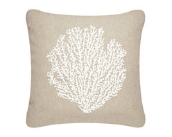 Wabisabi Green - Sea Fan Outdoor Eco Pillow, Shell White/Papyrus - If you are blessed to live near the beach, or have a getaway there, your outdoor patio is probably one of the best loved parts of the house and deserves its own decor. This hand-printed sea fan throw pillow is made from durable, ecofriendly fabric and UV-resistant ink that's safe to leave outside. In natural sand and white, it will blend with anything else out there, including the coastal landscape.