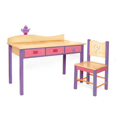 "Girl Teaset Desk and Chair Set, Natural - Our child-size Teaset desk and chair set has has 3 drawers and lots of desktop space. Set is made in solid hardwood finished with natural and colored stains.  Chair back has a steam swirl shaped cut-out.  Includes 3 Teaset knobs and Teapot finial for wave shaped back piece.  Desk is 48""L, 24""D, 28""H.  Chair is 16""D x 16""W x 32.5"" H.  Removable hutch with corkboard back and bookshelf sold separately."