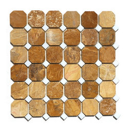 """Premier Worldwide - Autumn Gold With China White Dot Octagon 1 7/8"""" X  5/8"""" X X 5/8"""" X Mosaic Polish - Autumn Gold Octagon on a 12x12 sheet Polished marble mosaic is an organic stone with hues of soft pinks and golds with darker veins. The white marble dots compliment the color. (1 7/8"""", 5/8""""?5/8"""" ) It is recommended for use in both residential and commercial projects including interior flooring and walls.   Also known as Inca Gold, Giallo Reale"""
