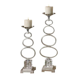 Uttermost Parson Silver Candleholders S/2 - Silver leaf with chrome accents and textured crystal cube. Distressed beige candles included. Silver leaf metal candleholders with chrome accents and textured crystal cube. Distressed beige candles included. Sizes: sm-5x18x5, lg-5x22x5