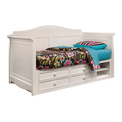 "Lea Industries - Lea Hannah Twin Daybed w/ Storage in White - The Hannah Collection by Lea is sure to look great in any girl's room with its soft curves, shaped pilasters, finessed lines, scalloped details, and casual hardware. This collection is offered in a crisp White finish and is crafted from solid hardwoods and painted wood products. The Hannah Collection offers many different storage that are perfect for any size room. With the updated country classic styling of the Hannah Collection it is sure to be a great fit for your daughter's bedroom! With roots that stretch all the way back to 1869, Lea Industries has been adding its signature style and design to homes around the United States for more than a century. Children's furniture makes up the cornerstone of this topnotch manufacturer's lineup, and Lea has always managed to produce functional, modern - yet sophisticated - furniture for children. Furniture that bears the Lea name is always high quality, versatile and attractive. - 147-989R.  Product features: Belongs to Hannah Collection; Daybed w/ Storage; Twin Day Bed: 84""W x 43""D x 49""H; Wood Rails: 76""W x 2""D x 5""H; Available with underbed storage or captain bed box; Captain Bed Box include: 4 Drawers, 1 Adjustable Shelf, Open Area: 18""W x 20""D x 13""; Solid hardwoods and painted wood products; White Finish; Available in Twin size. Product includes: Daybed (1); Captain Bed Box (1). Twin Daybed w/ Storage in White belongs to Hannah Collection by Lea."