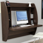 Prepac - Wall Mount Desk - Stable work surface is perfect for computer. Side compartments and top shelf provide functional storage and visual appeal. Mount at any height with metal hanging rail system. Two removable shelves ideal for speakers, electronic devices, books, photographs. Cable and wire management. Weight capacity: 100 lbs.. Warranty: Five years. Made from CARB compliant, laminated composite wood. Espresso finish. Made in North America. 42.25 in. W x 19.75 in. D x 39.5 in. HOptimize your space with Prepacs innovative and stylish wall mounted desk. Perfectly suited for any home office, den, living room, kitchen or entryway. Store books, photographs and other items on the top shelf.