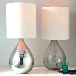 North Blown Glass And Flax Shade Table Lamp -