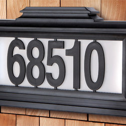 The Black Series - Black Series Solar-Powered Lighted Address Plaque - Add style and function to your home's exterior with the Black Series Solar-Powered LED Lighted Address Plaque. Powered by the Sun,the solar panel charges the built- in LED lights without any batteries or wires.
