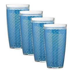 Kraftware Fishnet 24 oz. Doublewall Drinkware - Set of 4 - Casual dining doesn't have to be boring - the Kraftware Fishnet 24 oz. Doublewall Drinkware - Set of 4 dresses your indoor or outdoor dining table in color and style. This set includes four glasses with jute fishnet inside and a double wall of durable, protective PVC. They come in a dizzying array of color options, are top rack dishwasher-safe, and resist fading.