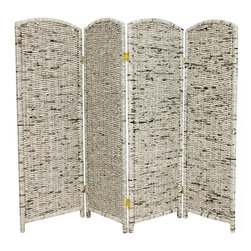 Oriental Furniture - 4 ft. Tall Recycled Newspaper Room Divider - 4 Panels - Lightweight, portable screen made from recycled materials for an eco-friendly, practical room divider. Hand-made from kiln dried, mitered wood framed panels wrapped and woven with real recycled Asian newsprint. Use as a subtle background for plants or floor vases, or as a shade in front of a desk or window.