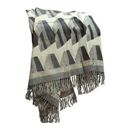 Barn & Willow - Geometric Pattern Throw - Gray - Warm and light weight our geometric pattern wool and silk throws are handwoven by artisans in India using the traditional handloom technique. Pure wool and silk yarns add a unique texture to it making it soft, light and perfectly warm.