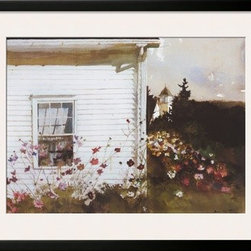 Artcom - Around the Corner by Andrew Wyeth Artwork - Around the Corner by Andrew Wyeth is a Framed Art Print set with a SOHO Black wood frame and a Polar White mat.