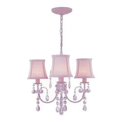 Lite Source - Lite Source Sofie Transitional Chandelier XSL-KNIP82591 - Add a splash of pink to the decor interior with this pink chandelier ensemble. The Lite Source Sofie transitional chandelier features pink finished frame with pink crystal glass accents for a tailored look. The pink fabric shades add to the monochromatic appeal of the chandelier.
