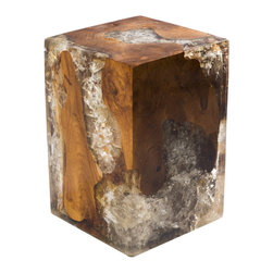 "Petrified Forests - Cracked Resin Block Stool - Our Cracked Resin Furniture is where art and earth collide. Salvaged teak roots are molded in resin, which is then cracked to emulate quartz. No two pieces look the same, so the picture you see here is just an approximation of what you'll get. (Trust us, you'll love it.) This piece, like all of our pieces, is a completely unique piece of furniture. Reinvent your living room with this square block which works as both stool or table.    Height: 18""   Width: 12""   Depth: 12""    Weight: 60 lbs"