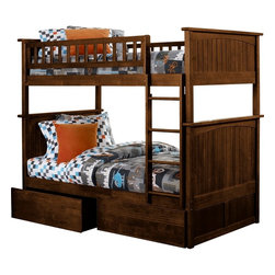 Nantucket Bunk Bed Full Over Full / Flat Panel Drawers / Antique Walnut - Features: