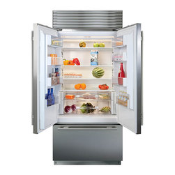 "Sub-Zero French Door Refrigerator - Sub-Zero continues to provide designers and homeowners with a product that meets their needs.  Fresh to our built-in line is our new 36"" French door refrigerator/freezer. The new French door model features two 18"" refrigerator doors that allow for more open-door access, a benefit for smaller kitchens.  Each door opens independently of the other with a pivoting center mullion to seal in freshness while maintaining Sub-Zeros stringent standards for reliability & performance."