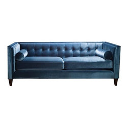 Fusion Tufted Back Sofa - Can you think of something better to sit on in winter than silky velvet? This soft blue sofa by Sandy Wilson is chic and elegant enough to host your lazy winter mornings.