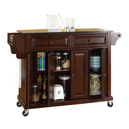 Crosley Furniture - Crosley Furniture 52x18 Solid Black Granite Top Kitchen Cart/Island in Vintage M - Constructed of solid hardwood and wood veneers, this mobile kitchen cart is designed for longevity. The beautiful raised panel doors and drawer fronts provide the ultimate in style to dress up your kitchen. Two deep drawers are great for anything from utensils to storage containers. Behind the four doors, you will find adjustable shelves and an abundance of storage space for things that you prefer to be out of sight. The heavy duty casters provide the ultimate in mobility. When the cabinet is where you want it, simply engage the locking casters to prevent movement. Style, function, and quality make this mobile kitchen cart a wise addition to your home.